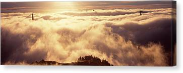 Suspension Bridge Covered With Fog Canvas Print by Panoramic Images