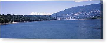 Suspension Bridge With Mountain Canvas Print by Panoramic Images