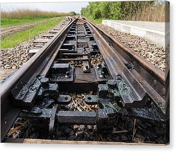 Switch Of The Local Railway At The Fish Canvas Print by Martin Zwick