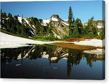 Table Mountain Reflected In Terminal Canvas Print by Michel Hersen