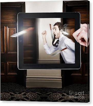 Tablet Display Playing Funny Interactive Movie Canvas Print by Jorgo Photography - Wall Art Gallery