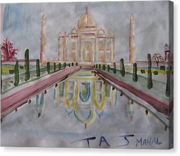 Canvas Print featuring the painting Taj Mahal by Vikram Singh
