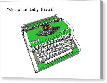 Typewriter Keys Canvas Print - Take A Lettah Maria by Canis Canon