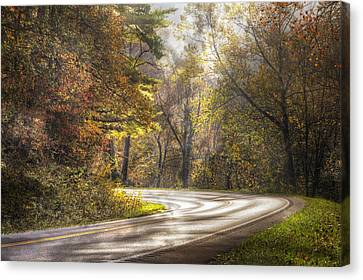 Smokey Mountain Drive Canvas Print - Take The Back Roads by Debra and Dave Vanderlaan