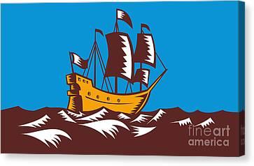 Tall Sailing Ship Retro Woodcut Canvas Print by Aloysius Patrimonio