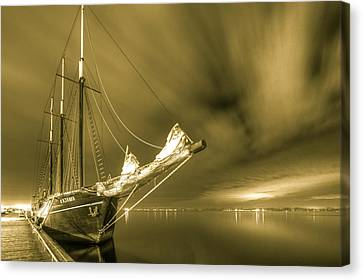 Tall Ship In The Lights Of Toronto Canvas Print by Nick Mares
