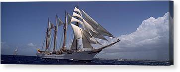 Tall Ship In The Sea, Puerto Rico Canvas Print