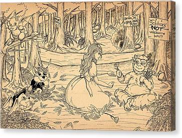Canvas Print featuring the drawing Tammy And The Baby Hoargg by Reynold Jay