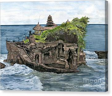 Canvas Print featuring the painting Tanah Lot Temple Bali Indonesia by Melly Terpening