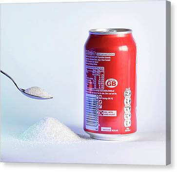 Teaspoon Of Sugar With Can Of Fizzy Drink Canvas Print