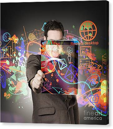 Technology Man With Network On Digital Tablet Canvas Print