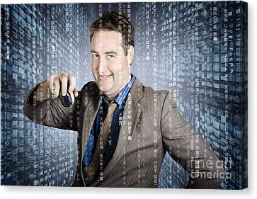 Technology Smart Business Man Using Computer Mouse Canvas Print by Jorgo Photography - Wall Art Gallery