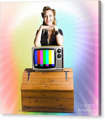 Technology Smart Pinup Woman On Retro Color Tv Canvas Print by Jorgo Photography - Wall Art Gallery