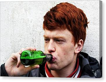 Teenager Drinking Beer Canvas Print