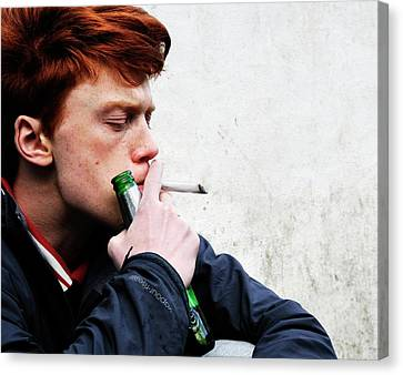 Teenager Smoking And Drinking Canvas Print