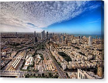 Canvas Print featuring the photograph Tel Aviv Skyline by Ron Shoshani