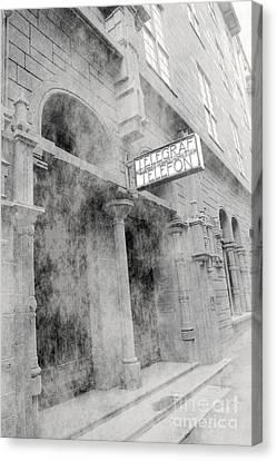 Telegraf Building In Foggy Oslo Canvas Print by Sophie Vigneault