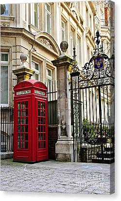 Gate Canvas Print - Telephone Box In London by Elena Elisseeva