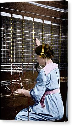 Telephone Switchboard Operator Canvas Print by Science Photo Library