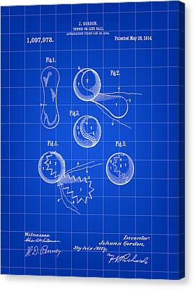 Tennis Ball Patent 1914 - Blue Canvas Print