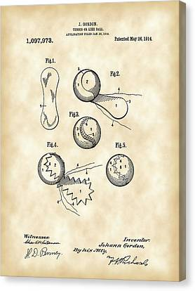 Tennis Ball Patent 1914 - Vintage Canvas Print