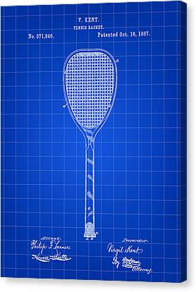 Tennis Racket Patent 1887 - Blue Canvas Print by Stephen Younts