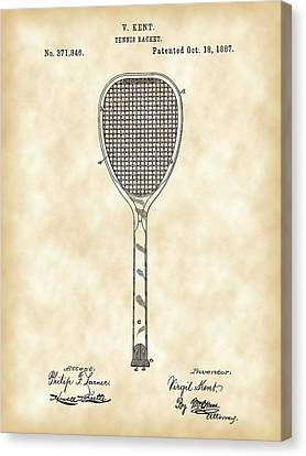 Tennis Racket Patent 1887 - Vintage Canvas Print