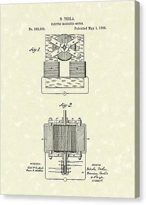 Tesla Motor 1888 Patent Art Canvas Print by Prior Art Design