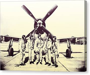 Test Pilots With P-47 Thunderbolt Fighter Canvas Print by R Muirhead Art