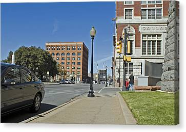 Canvas Print featuring the photograph Texas School Book Depository by Charles Beeler