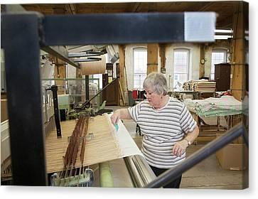 Textile Mill Loom Operator Canvas Print by Jim West