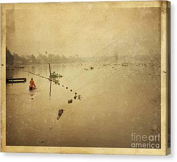Vintage River Scenes Canvas Print - Thai River Life by Setsiri Silapasuwanchai