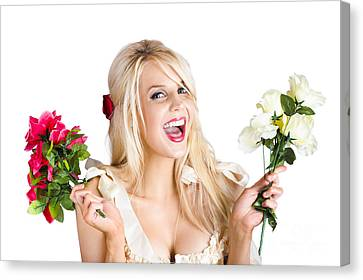 Thankful Woman With Fresh Flower Love Canvas Print by Jorgo Photography - Wall Art Gallery