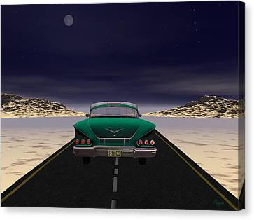 Canvas Print featuring the digital art The 58 On 66 by John Pangia