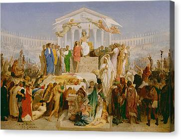 The Age Of Augustus The Birth Of Christ Canvas Print by Jean Leon Gerome