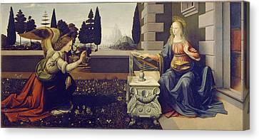 Smiling Jesus Canvas Print - The Annunciation by Leonardo Da Vinci