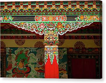 Tibetan Canvas Print - The Art Found In The Arhitectural Style by Jaina Mishra