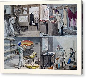 The Bakery, The Butchers, The Shoemaker, 19th Century Canvas Print by English School