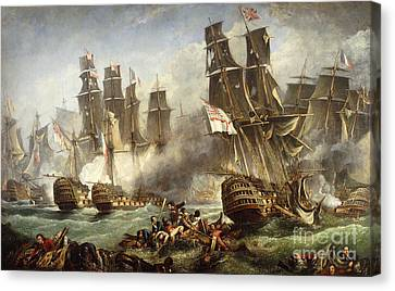 The Battle Of Trafalgar Canvas Print by English School