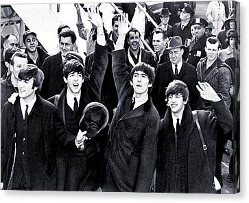 Frenzy Canvas Print - The Beatles Land In America - 1964 by Mountain Dreams