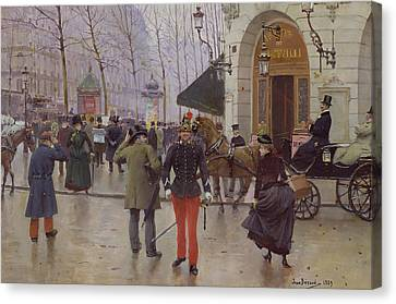 The Boulevards Canvas Print - The Boulevard Des Capucines And The Vaudeville Theatre by Jean Beraud