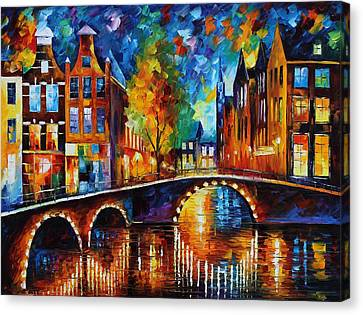 The Bridges Of Amsterdam Canvas Print by Leonid Afremov
