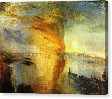 The Burning Of The Houses Of Parliament Canvas Print by JMW Turner