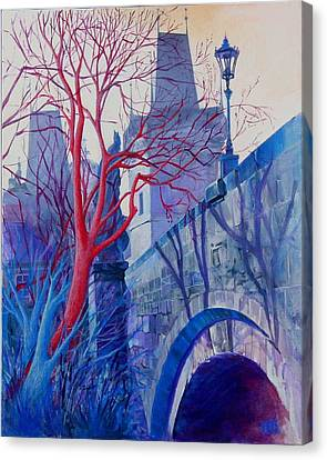 Canvas Print featuring the painting The Charles Bridge Blues by Marina Gnetetsky