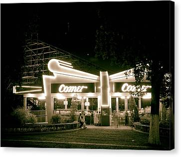 The Comet Roller Coaster - St Louis 1950 Canvas Print by Mountain Dreams