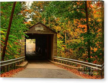 The Covered Bridge Canvas Print by Kathy Baccari