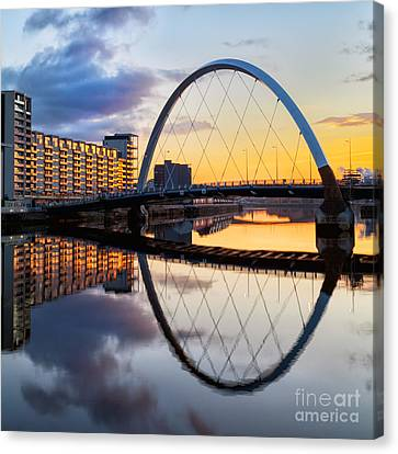 The Cyde Arc Squinty Bridge Canvas Print by John Farnan