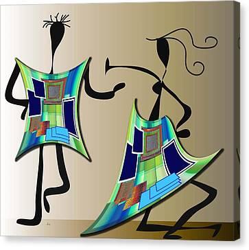 Canvas Print featuring the digital art The Dancers by Iris Gelbart