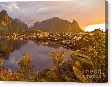 The Day Begins In Reine Canvas Print by Heiko Koehrer-Wagner