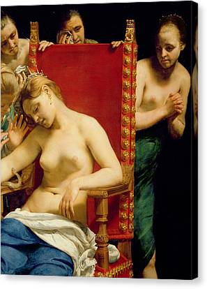 Announcement Canvas Print - The Death Of Cleopatra  by Guido Cagnacci